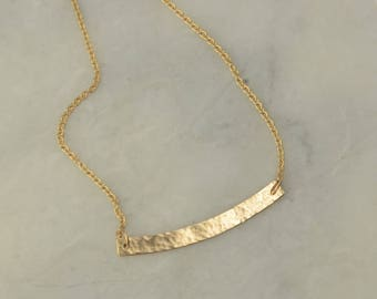 Hammered Gold Bar Necklace - Delicate Curved Bar - Layered Necklace - 14K Yellow Gold Cable Chain