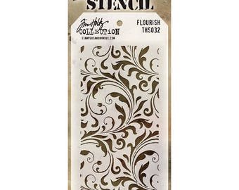 Tim Holtz Collection, Flourish Stencil, Scrapbooking, Mixed Media, Card Making, Template, Masking,Mini Album,