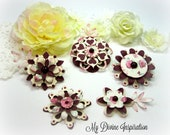 Burgundy, White and Ivory Paper Embellishments and Paper Flowers for Scrapbook Layouts Cards Tags Mini Albums Planners and Paper Crafts