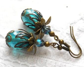 teal filigree earrings teal earrings brass sea blue earrings drop earrings victorian style earrings beaded earrings