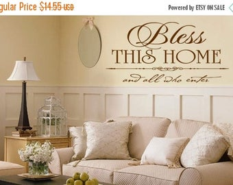 20% OFF Bless this home and all who enter -faith-Vinyl Lettering wall words graphics Home decor itswritteninvinyl