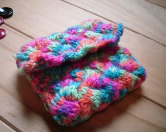 Hand Knitted Coin Purse, Multi Coloured Change Purse