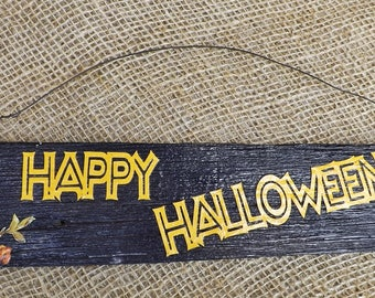 Halloween Rustic Wood Decoupage Sign Wire Hanger, Door Hanger, Wall Shelf Table decor, Reclaimed old wood, Vintage paper cut out on Black