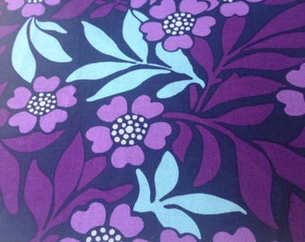Lavender and Purple Flowers on Navy - Quilting Cotton-BTY