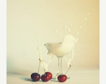 Food Photography Art for kitchen: cherry splash  fine art print Food Fruit cream Red White Still life Photo,canadian photography