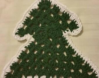 Large Christmas Tree Dishcloth Washcloth Handmade in 100% Cotton Yarn EcoFriendly Reusable Kitchen gift Tree Forest green Christmas Woodland