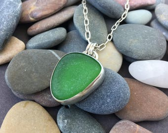Sea Glass Pendant, Sea Glass Necklace, Green Sea Glass Necklace