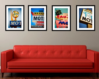 Set of Los Angeles Neon Motel Sign Prints | Mid Century Modern | Retro Wall Art | Googie Decor | Save 10-20% on Four Fine Art Photographs