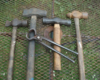 Good set of Blacksmith's starter hammers x4 and one set of tongs from forge clearance