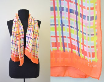 1960s Echo Plaid Silk Chiffon Scarf