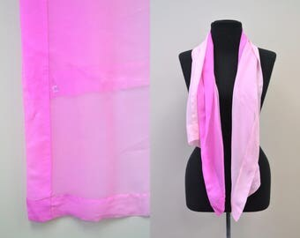 1950s Pink Ombre Chiffon Scarf