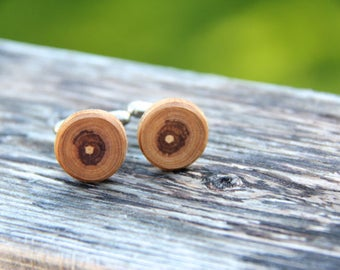 apple - ONE PAIR of natural wood cuff links