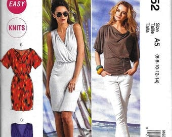 McCall's M6752 Easy Knit Dress Or Top Cowl Neck Or V Halter Sewing Pattern 6752 UNCUT Size 6, 8, 10, 12, 14