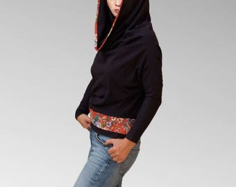 Hooded Cowl tunic convertible Shrug sweater