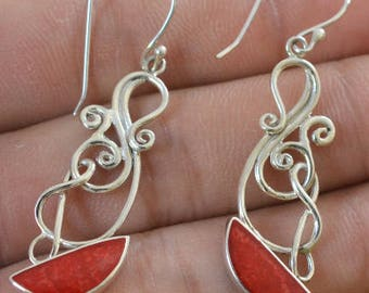 Natural Red Coral Earrings 925 Sterling Silver Jewelry E485