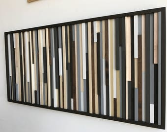 Wood Wall Art - Reclaimed Wood Art Sculpture - Modern Wall Art/Abstract Painting on Wood 24x48
