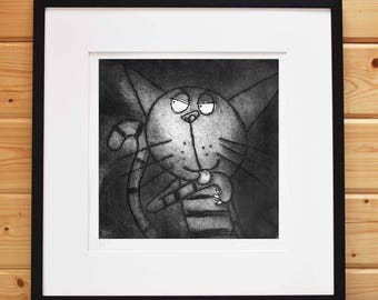 Licking Paw Cat - Original limited edition stripey cat print cat etching cat art handprinted black and white cat print, funny cat unframed