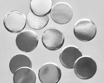 "1"" pre-cut GLITTER CIRCLE CONFETTI (100 pc)  --  Metallic Silver --  create you own garland, envelope seals, favor tags & more!"