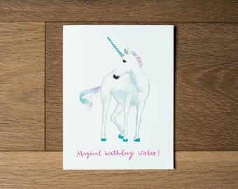 Unicorn birthday card - pretty unicorn - pink and blue - unicorn art
