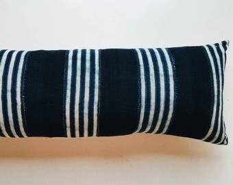 Striped Indigo Mudcloth Lumbar Pillow Cover - Long Lumbar Pillow - Modern Bohemian