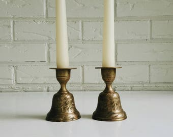 Pair of Vintage Etched Floral Brass Taper Holder Bells from India - Brass Candle Stick Holders Bohemian Modern Eclectic Decor