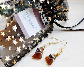 Lake Erie Beachglass Earrings, Amber Sea Glass Jewelry, Seaglass Earrings