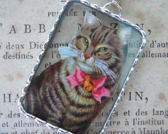 Fiona & The Fig - Vintage German Die Cut Scrap - Cat with Pink Bow - Soldered Charm - Necklace - Pendant-Jewelry