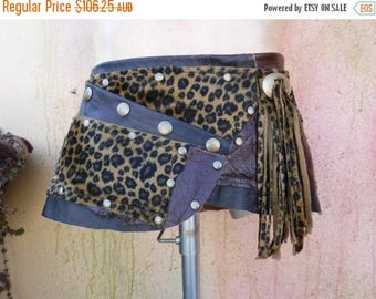 "20%OFF distressed leather ,  festival mini skirt,  steampunk faux leopard print & Choc Leather mini skirt/belt.....34"" to 42"" hip"