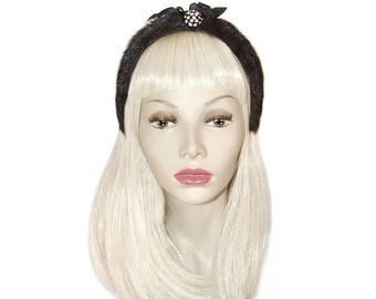 Vintage Fur Headband, Rhinestones, Made in France, Vintage 1950s