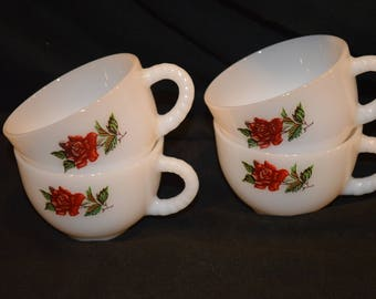 Federal Rosecrest Tea Cups-Coffee Cups-Punch Cups-Set of 4