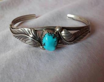 Sterling Silver Turquoise Leaf Bracelet