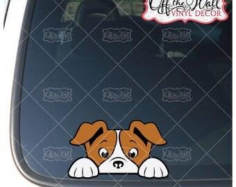 Peek-A-Boo Jack Russell Terrier Vinyl-Decal-Sticker