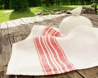 Luxury  Washed Linen Napkins with red stripe- Set of 2 - linen-Table cloth