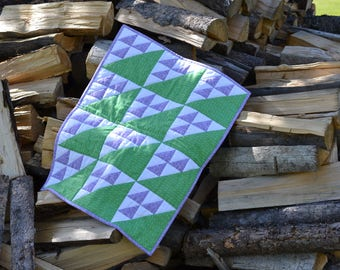 Patchwork Doll Quilt, Lilac Purple and leaf green, Miniature quilt