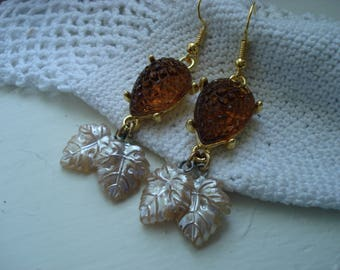 Vintage Czech Art Deco Topaz Alligator and Japanese Pearl Glass Leaf Beads Gold Earrings