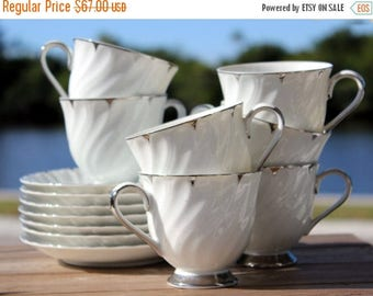 ON SALE 7 Heirloom, White Coffee, or Tea Cups -  Teacups and Saucers, Made in Japan  13852