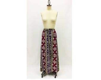 Vintage Purple Batik Barkcloth Maxi Wrap Skirt