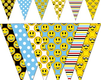 Emoji Banner, Smiley Printable Banner, Emoji Party Pennant Banner, Birthday Photography - Instant Download - DP461