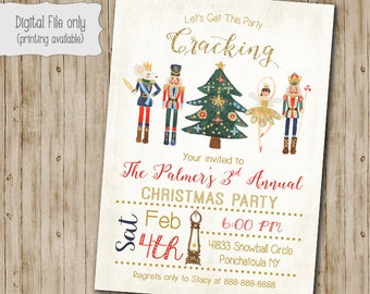Nutcracker Invitation Christmas Party Invitation, Christmas Invite, Cracking Invitation, Holiday Invitation - Printable Holiday Invitation