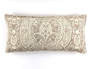 ON SALE Quadrille Veneto 12 X 24 Pillows with welting in Pumice (Both Sides)