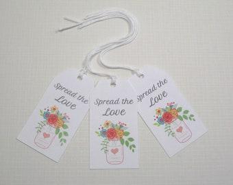 10 Wedding Favor Tags  Mason Jar Tags Wedding Favors  Bridal Shower Favor Tags  Spring Wedding Tags