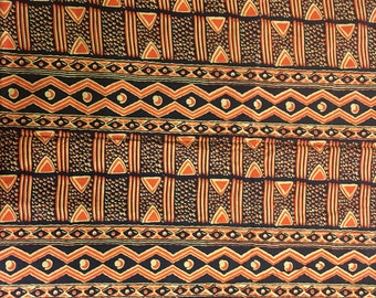 Orange and Black African Print Fabric 1yard and 5/8