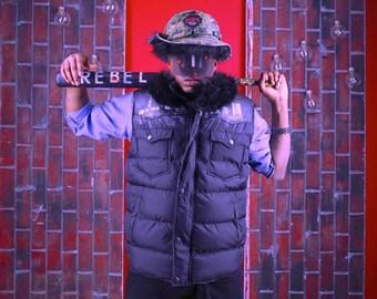 Handpainted Black faux fur vest