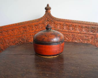 Antique Wooden Box Round Box Antique Red