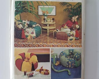 Sewing Pattern For Tube Chair And Snake Toy Draft Stopper Bean Bag Home Decor UNCUT