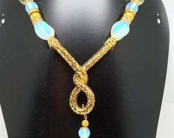 Necklace made of opal, crystals and golden components, wedding gift, Christmas gift.