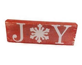 Joy Christmas Decor Block Sign, Holiday Decor, Gift