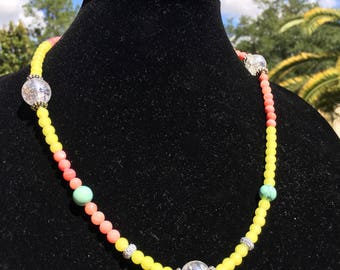 Yellow & Coral Beaded Necklace