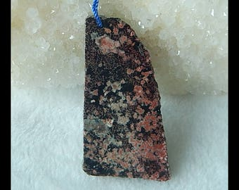 Nugget SnowFlake Obsidian Gemstone  Pendant Bead,45x25x3mm,6.87g(f0788)