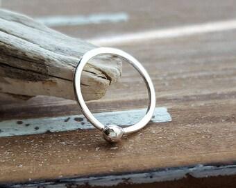 Small Hoop Earring, Argentium Silver 18g 12mm ID Sleeper Hoop, Artisan Body Jewelry